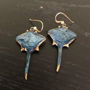 Manta Ray Blue Glass & Gold Earrings